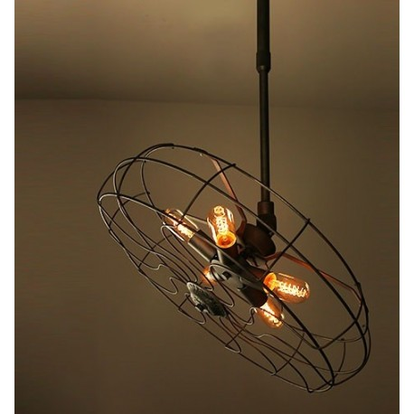 Suspension design industriel rétro ventilateur avec ampoule Edison