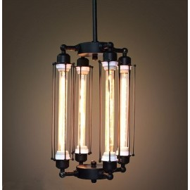Suspension design industriel rétro avec 4 ampoules edison tube verticale