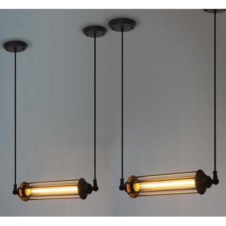 Suspension design industriel rétro avec 1 ampoule edison tube