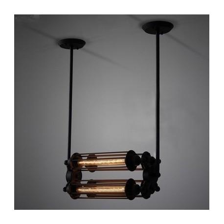 Suspension design industriel rétro avec 4 ampoules edison tube horizontale