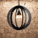 Suspension design industriel Roue dentée avec ampoule Edison