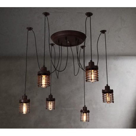 Industrial Vintage Elexir Chandelier with Edison bulbs