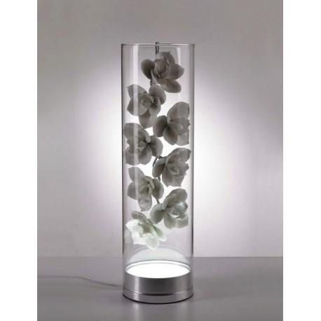 CYMBIDIUM Orchid GLASS Vessel LED table lamp