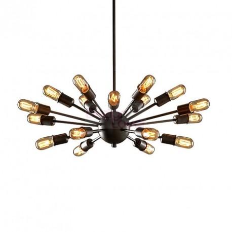 Chandelier design industriel sputnik avec 18 ampoules