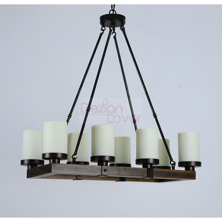 Arturo Rustic Vintage Wood Led Rectangular Chandelier A