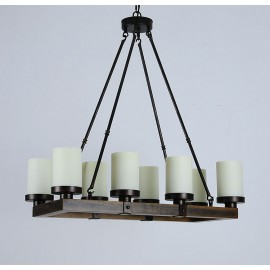 Chandelier LED rectangulaire design Arturo Vintage rustique en bois