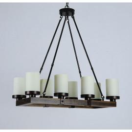 Chandelier LED rectangulaire design Arturo Vintage rustique en bois