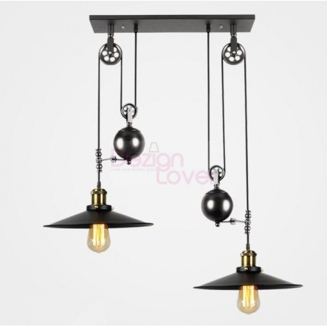 Industrial Iron Pulley Double Pendant Lamp Design With